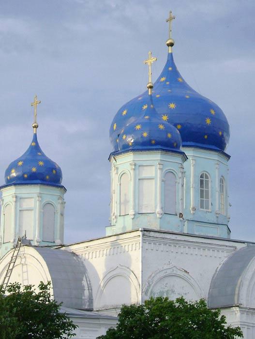 Купола Боголюбской церкви в селе Зимарово Новодеревенского района Рязанской области.