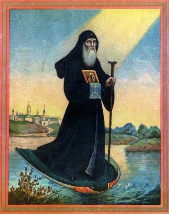 Св. Василий Рязанский плывет на мантии против течения по Оке из Мурома в Рязань
